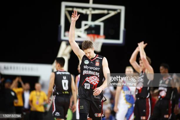 Tom Abercrombie of the Breakers celebrates as he comes off the court during the round 18 NBL match between the New Zealand Breakers and the Adelaide...