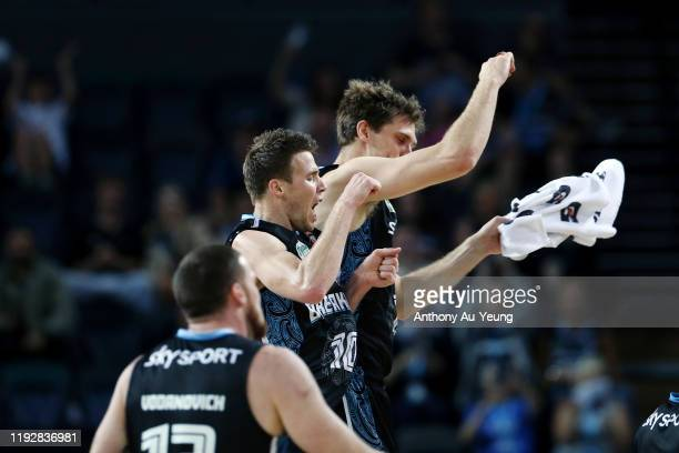 Tom Abercrombie of the Breakers celebrates with teammate Rob Loe during the round 10 NBL match between the New Zealand Breakers and the Brisbane...