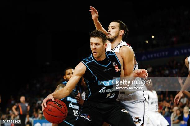 Tom Abercrombie of the Breakers competes against Chris Goulding of United during the round 18 NBL match between the New Zealand Breakers and...