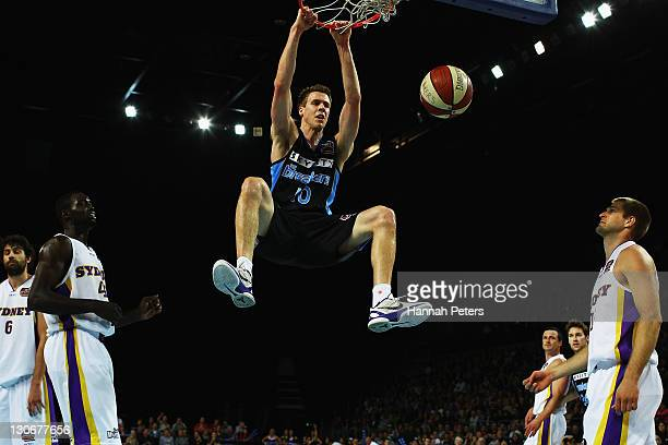 Tom Abercrombie of the Breakers dunks the ball during the round three NBL match between the New Zealand Breakers and the Sydney Kings at Vector Arena...