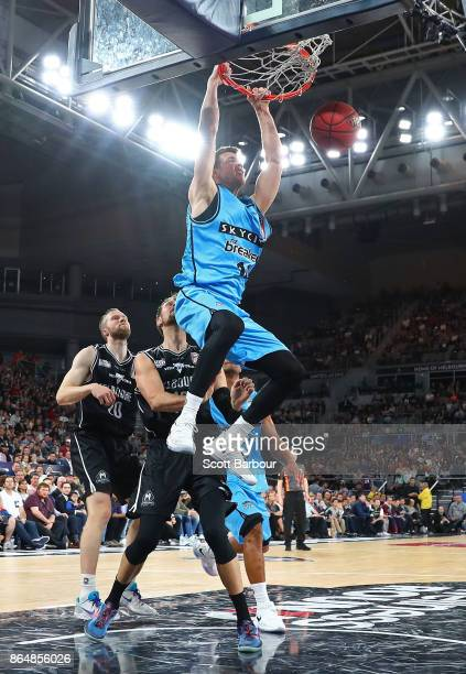 Tom Abercrombie of the Breakers dunks the ball during the round three NBL match between Melbourne United and the New Zealand Breakers at Hisense...