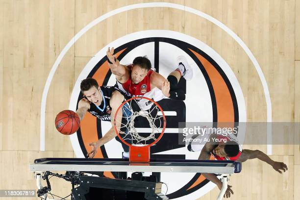 Tom Abercrombie of the Breakers goes up against David Anderson of the Hawks during the round four NBL match between the New Zealand Breakers and the...