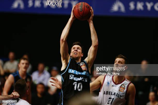 Tom Abercrombie of the Breakers goes up for a dunk during the round five NBL match between the New Zealand Breakers and the Adelaide 36ers at North...