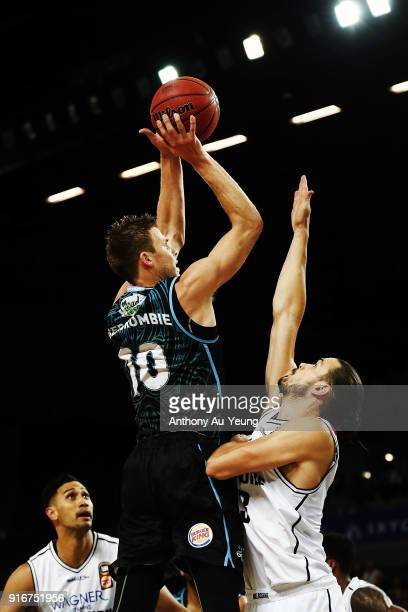 Tom Abercrombie of the Breakers puts up a shot against Chris Goulding of United during the round 18 NBL match between the New Zealand Breakers and...