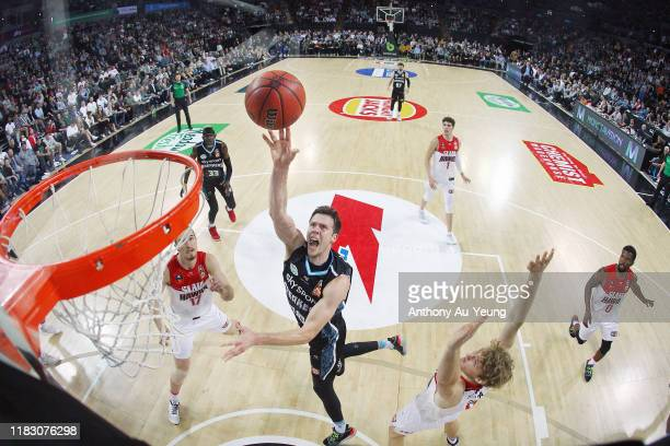 Tom Abercrombie of the Breakers puts up a shot during the round four NBL match between the New Zealand Breakers and the Illawarra Hawks at Spark...