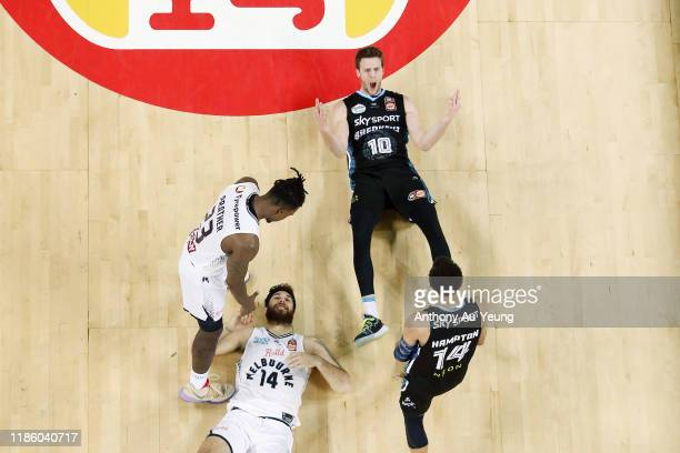 Tom Abercrombie of the Breakers reacts after drawing a four-point play against Tohi Smith-Milner of United during the round 6 NBL match between the...
