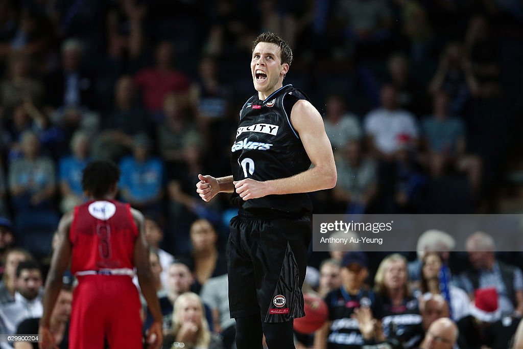 Tom Abercrombie of the Breakers reacts during the round 11 NBL match between New Zealand Breakers and Perth Wildcats at Vector Arena on December 15, 2016 in Auckland, New Zealand.
