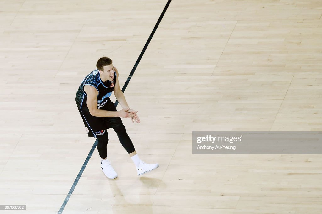 Tom Abercrombie of the Breakers reacts during the round nine NBL match between the New Zealand Breakers and the Brisbane Bullets at Spark Arena on December 7, 2017 in Auckland, New Zealand.