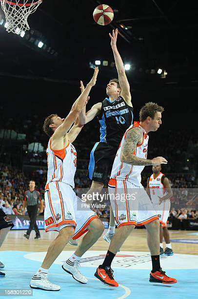Tom Abercrombie of the Breakers shoots during the round 11 NBL match between the New Zealand Breakers and the Cairns Taipans at Vector Arena on...