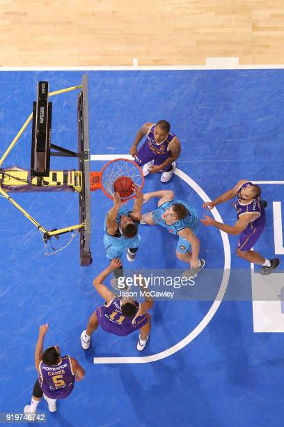 Tom Abercrombie of the Breakers slam dunks during the round 19 NBL match between the Sydney Kings and the New Zealand Breakers at Qudos Bank Arena on...