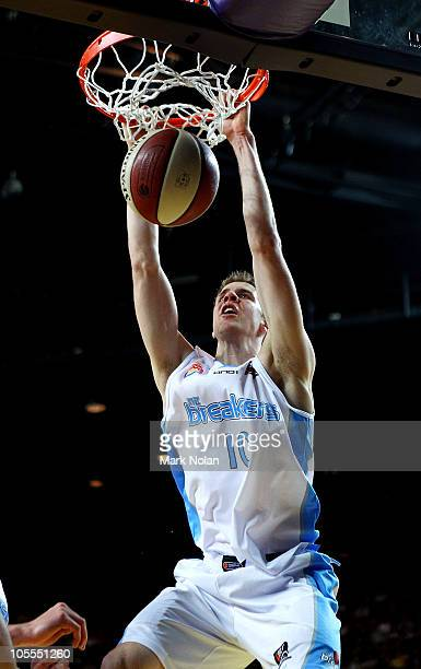 Tom Abercrombie of the Breakers slam dunks during the round one NBL match between the Sydney Kings and the New Zealand Breakers at Sydney...