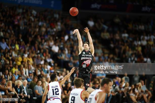 Tom Abercrombie of the Breakers takes a three pointer during the round 18 NBL match between the New Zealand Breakers and the Adelaide 36ers at Spark...