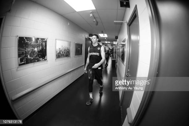 Tom Abercrombie of the Breakers walks out to the court prior to the round eight NBL match between the New Zealand Breakers and the Sydney Kings at...