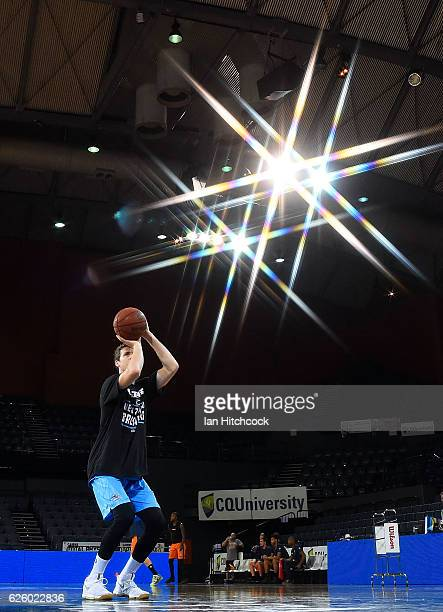Tom Abercrombie of the Breakers warms up before the start of the round eight NBL match between the Cairns Taipans and the New Zealand Breakers at...