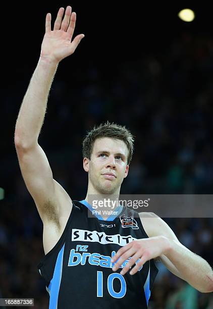 Tom Abercrombie of the Breakers waves to the crowd following game one of the NBL Grand Final series between the New Zealand Breakers and the Perth...
