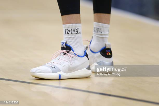 Tom Abercrombie of the Breakers wears the Nike Kobe AD during the round 15 NBL match between the New Zealand Breakers and the Cairns Taipans at TSB...