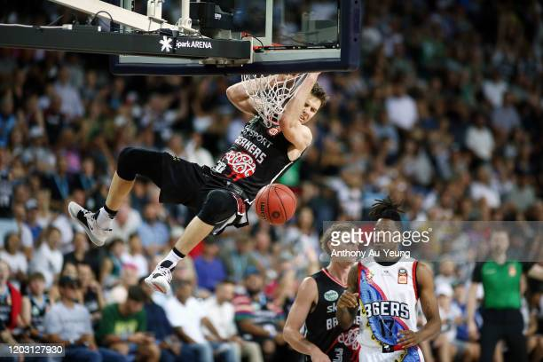 Tom Abercrombie of the Breakers with a dunk during the round 18 NBL match between the New Zealand Breakers and the Adelaide 36ers at Spark Arena on...