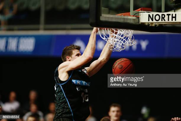 Tom Abercrombie of the Breakers with a dunk during the round five NBL match between the New Zealand Breakers and the Adelaide 36ers at North Shore...
