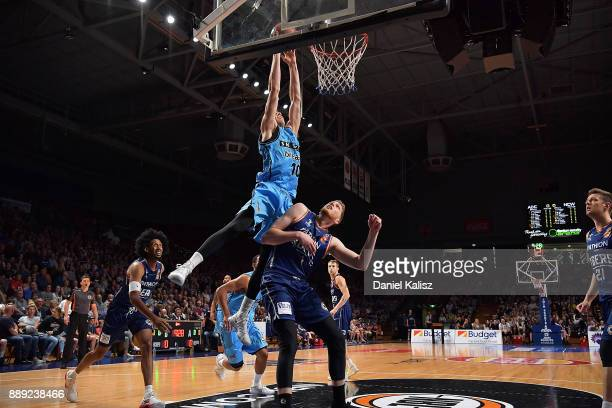 Tom Abercrombie of the New Zealand Breakers dunks during the round nine NBL match between the Adelaide 36ers and the New Zealand Breakers at Titanium...