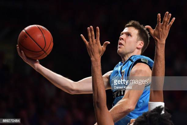 Tom Abercrombie of the New Zealand Breakers shoots during the round nine NBL match between the Adelaide 36ers and the New Zealand Breakers at...