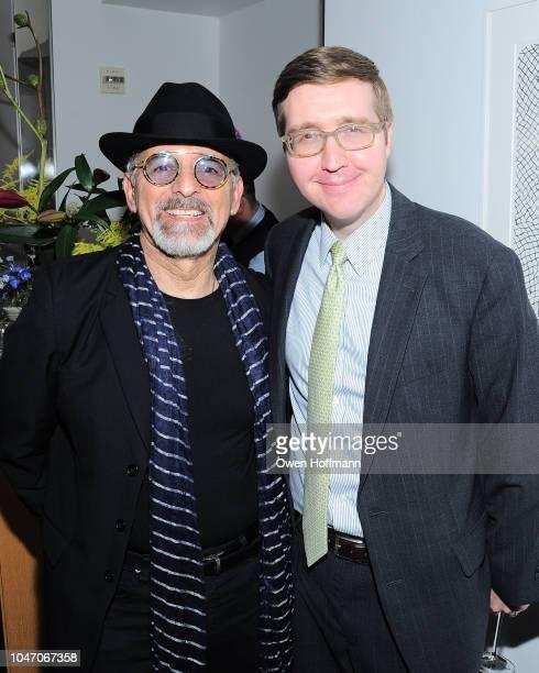 Tom Abraham and Howard Warren Buffett attends Birthday Of Romero Britto Madeleine Arison Howard Buffett And Dr Lucas Vidal at The Modern on October 6...