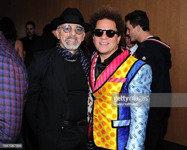 Tom Abraham and Romero Britto attends Birthday Of Romero Britto Madeleine Arison Howard Buffett And Dr Lucas Vidal at The Modern on October 6 2018 in...