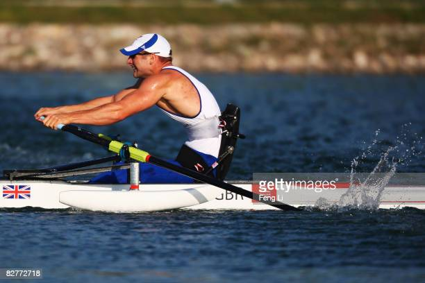 Tom Aggar of Great Britain completes in the Rowing Men's Single Sculls Final at Shunyi Olympic Rowing-Canoeing Park during day five of the 2008...