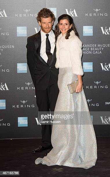 Tom Aikens and Justine Dobbs Higginson attend a private view for the Alexander McQueen Savage Beauty exhibition at Victoria Albert Museum on March 12...