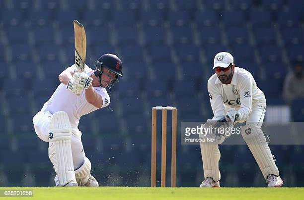 Tom Alsop of England Lions bats during day one of the tour match between England Lions and Afghanistan at Zayed Cricket Stadium on December 7 2016 in...