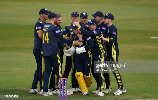 Tom Alsop of Hampshire is congratulated by his teammates for catching Steven Croft of Lancashire during the Royal London One Day Cup Semi-Final match...