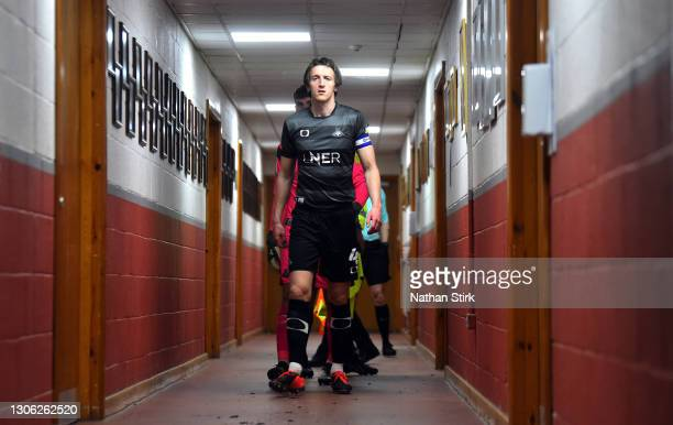 Tom Anderson of Doncaster makes his way out to the pitch before the Sky Bet League One match between Crewe Alexandra and Doncaster Rovers at The...