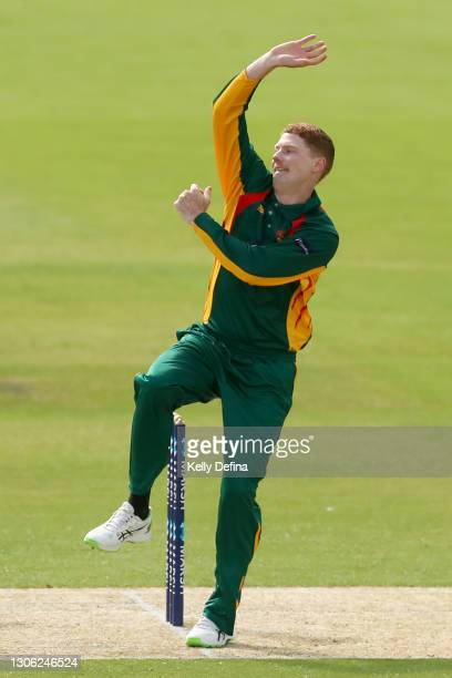 Tom Andrews of Tasmania bowls during the Marsh One Day Cup match between Victoria and Tasmania at CitiPower Centre on March 10, 2021 in Melbourne,...