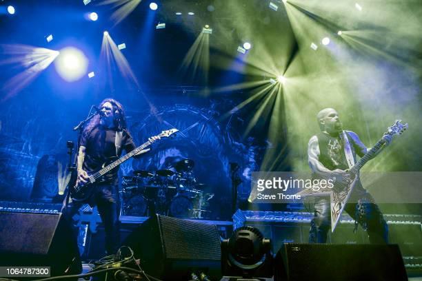 Tom Araya and Kerry King of Slayer perform at Arena Birmingham on November 7 2018 in Birmingham England