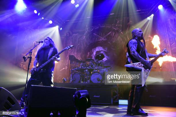 Tom Araya and Kerry King of Slayer perform at Bill Graham Civic Auditorium on August 9 2017 in San Francisco California