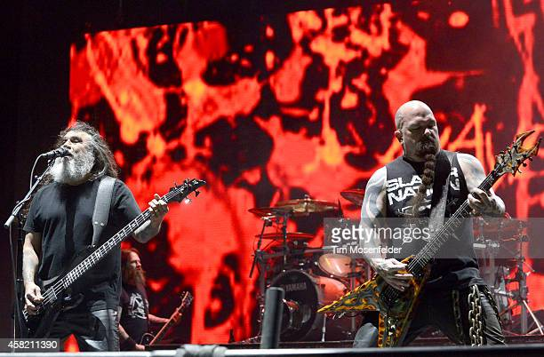 Tom Araya and Kerry King of Slayer perform during the 2014 Voodoo Music Arts Experience at New Orleans City Park on October 31 2014 in New Orleans...