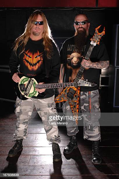 Tom Araya and Kerry King of Slayer pose for a photo session at club Revolution on February 24 2007 in Ft Lauderdale Florida