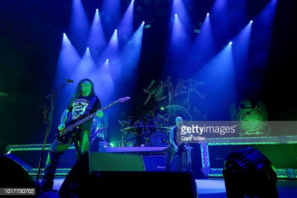 Tom Araya and Kerry King perform in concert with Slayer at Freeman Coliseum on August 15 2018 in San Antonio Texas