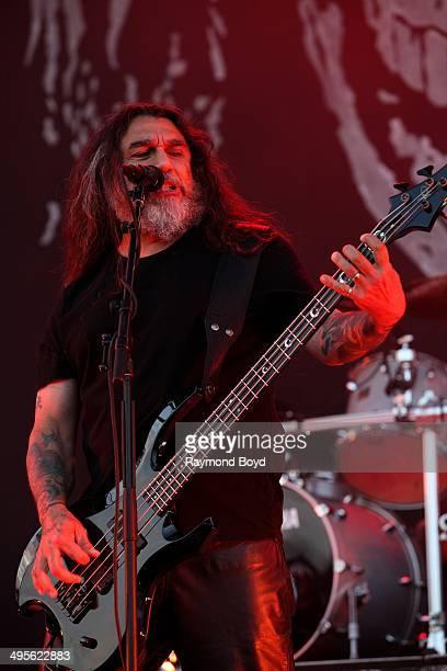 Tom Araya from Slayer performs at Columbus Crew Stadium on May 17 2014 in Columbus Ohio