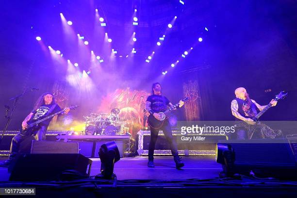 Tom Araya Gary Holt and Kerry King perform in concert with Slayer at Freeman Coliseum on August 15 2018 in San Antonio Texas