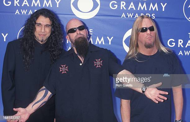 Tom Araya Kerry King and Jeff Hanneman of Slayer attend Foundation Awards on October 3 1991 at the Airport Marriott Hotel in Los Angeles California