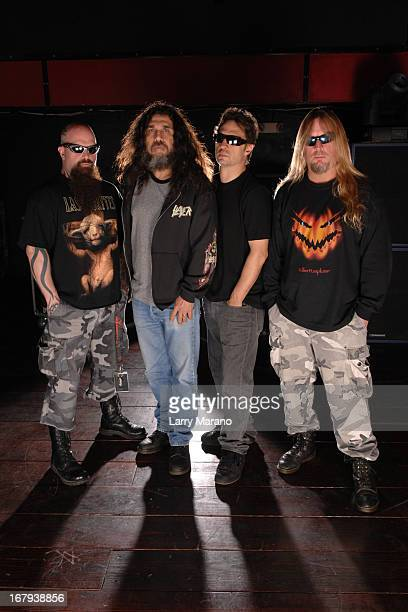 Tom Araya Kerry King Jeff Hanneman and Dave Lombardo of Slayer pose for a photo session at club Revolution on February 24 2007 in Ft Lauderdale...