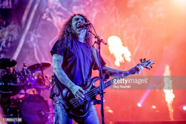Tom Araya of Slayer as they perform their final tour The Final Campaign The Last Leg at Madison Square Garden on November 09 2019 in New York City