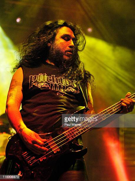 Tom Araya of Slayer during Slayer 'Unholy Alliance Tour' at Cobo Arena July 6 2006 at Cobo Arena in Detroit Michigan United States