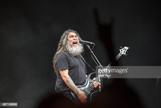 Tom Araya of Slayer performs during the 2015 Rockstar Energy Drink Mayhem Festival at Nikon at Jones Beach Theater on July 26 2015 in Wantagh New York