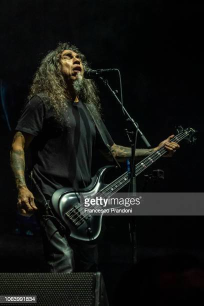 Tom Araya of Slayer performs on stage at Mediolanum Forum of Assago on November 20, 2018 in Milan, Italy.