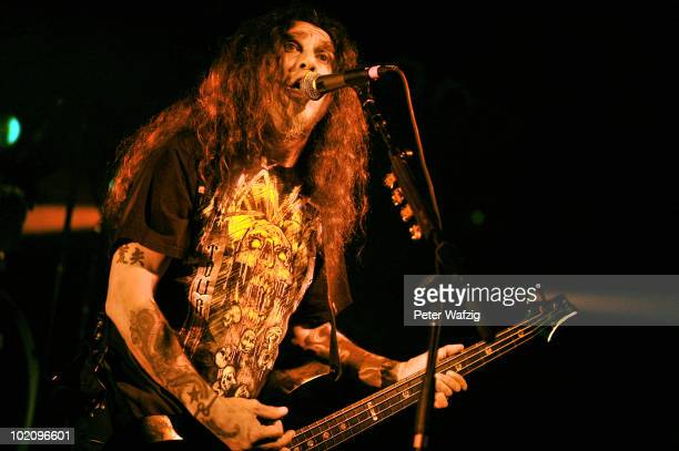 Tom Araya of Slayer performs on stage at the Live Music Hall on June 14 2010 in Cologne Germany