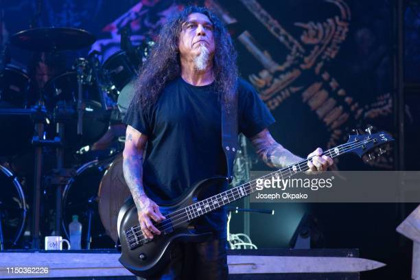 Tom Araya of Slayer performs on stage during day 3 of Download festival 2019 at Donington Park on June 14 2019 in Castle Donington England