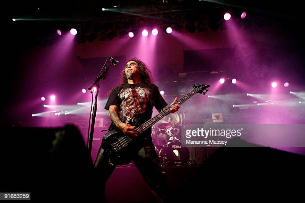 Tom Araya of the band Slayer performs on stage at Festival Hall on October 9 2009 in Melbourne Australia