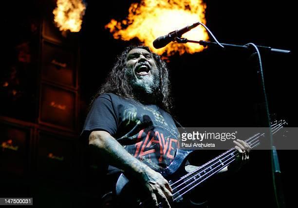 Tom Araya of the heavy metal band Slayer performs at the 2012 Rockstar energy drink Mayhem Festival at San Manuel Amphitheater on June 30 2012 in San...