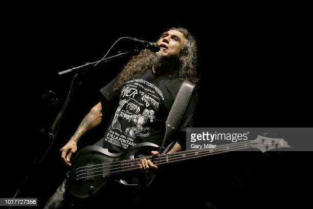 Tom Araya performs in concert with Slayer at Freeman Coliseum on August 15 2018 in San Antonio Texas